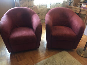 MOVING SALE 2x Soft Red Microsuede Bucket/Tub Swivel Chairs