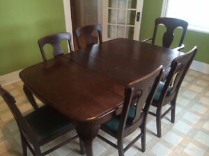 Antique Table and Chair set with Antique Side Board
