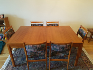 Teak Dining Room Table 6 Chairs