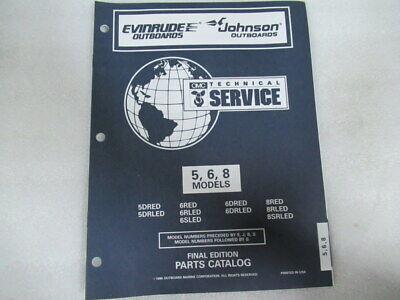 1997 Evinrude Johnson 5/6/8 Models Final Edition Parts Catalog Manual P/N 438189