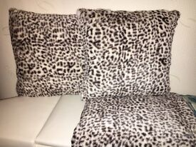 Print fleece throw with soft pattern on other side and two cushions