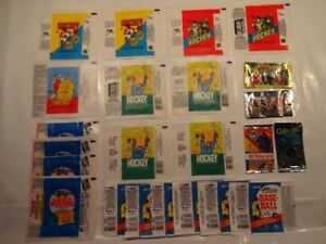 cartes hockey baseball emballages wax wrappers lot de 23