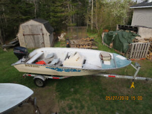 15 FOOT BOAT MOTOR AND TRAILER FOR SALE