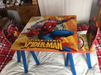 Wooden Spider-Man Table and Two Chairs