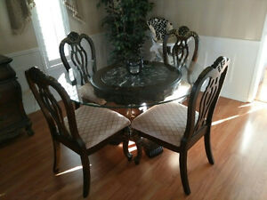 Glass Dining Table with Detailed Maple Base Including 4 Chairs