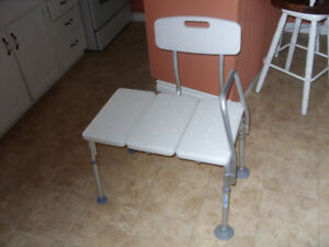 Bench shower seat,fold up walker and raised toilet seat