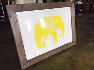Elephant and baby picture with frame