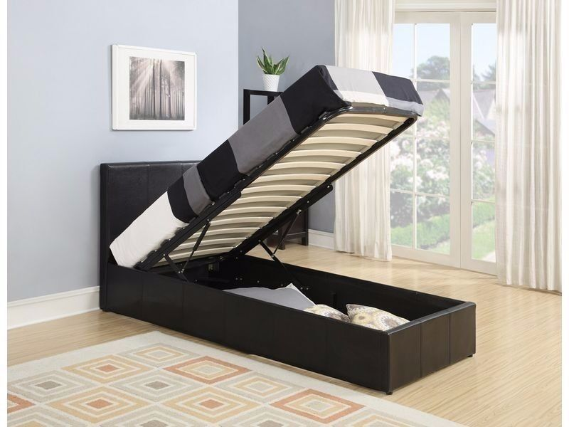 DOUBLE AND SMALL DOUBLE LEATHER STORAGE BED WITH SEMI ORTHOPAEDIC MATTRESS