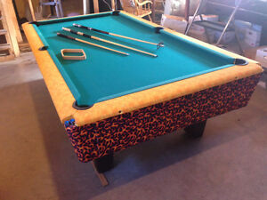 4 x 8 Slate Pool Table In Great Condition - Custom Fire Theme