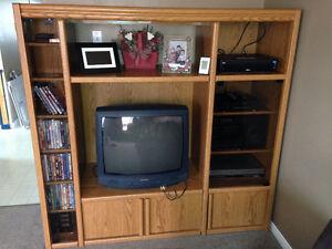 Solid wood entertainment unit