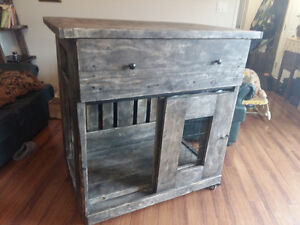 I havery a rustic dog kennel with drawer and desk top