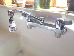 Vintage Cast Iron Porcelain Sink with New Tap Set
