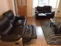 Brown genuine leather 3 & 2 seater sofas from SCS