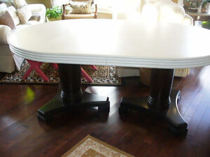 Large Two Pedestal Base heavy Dining room table