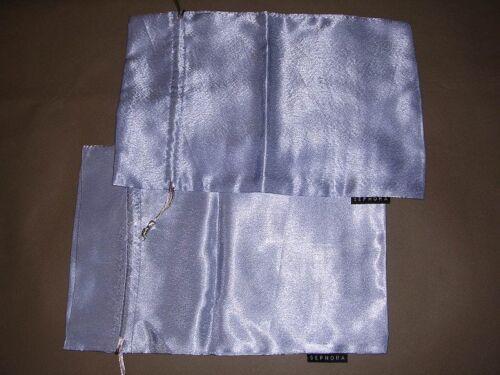 "2 Shiny Light Blue Drawstring Pouch Sephora. Measured Flat: 12""(L) x 8""(W) GREAT"