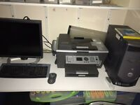 dell computer with windows xp screen and printer