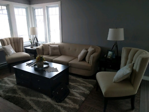 Paiano Sofa and Accent Chairs -Taupe For Sale