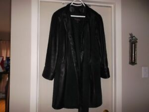 manteau en cuir et suede avec doublure enlevable