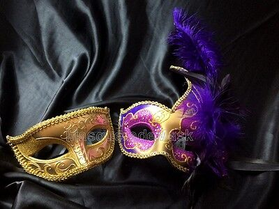 Feather Couple Masquerade Ball Mask Pair Costume Halloween Prom Wedding Bachelor