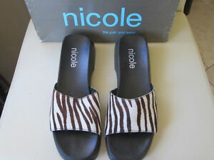 "REDUCED! Ladies Nicole ZEBRA Print ""Pony-Hair"" Sandals Size 8"