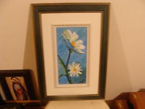 très belle peinture avec des fleurs blanches