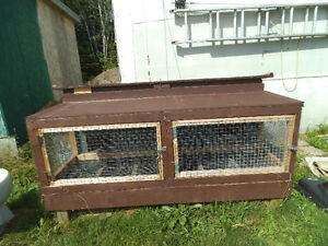 Large heavy 2 section outdoor rabbit cage with houses.MAY TRADE