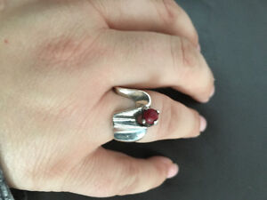 Sterling silver red stone custom made ring