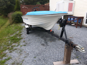14ft fiberglass boat and trailer