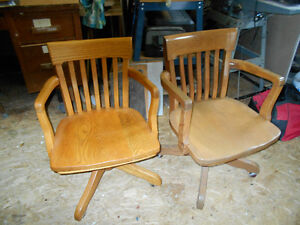older style solid oak office chairs