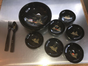Vintage Japanese Black Lacquer Salad set