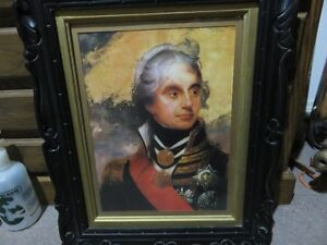 PICTURE LORD NELSON IN BLACK PAINTED FRAME 1810 STYLE 17 INCHES