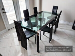 Modern glass dining table and armoire. Solid and great quality!