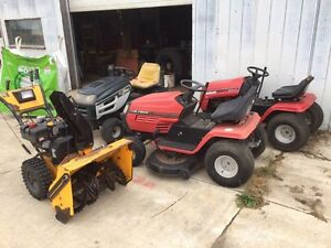 Package deal 3 lawn tractors and 1 walk behind snow blower