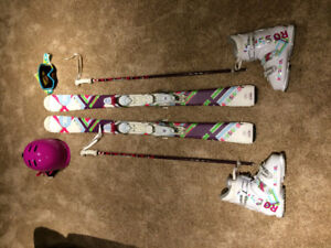 ROSSIGNOL FUN GIRL SKIS BOOTS POLES HELMET GOGGLES