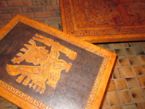 Tribal African Leather Coffee and End Table Set