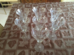Vintage Crystal Champagne Flutes and Wine Glasses