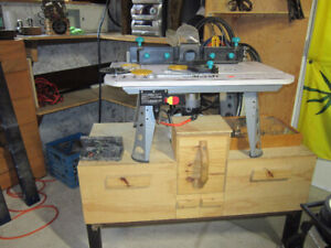 Router, Router table with attachments, router bits