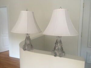 2 GLASS NIGHT TABLE LAMPS