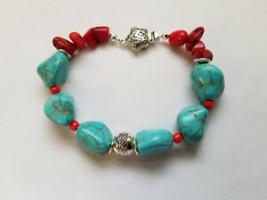 Hand made bracelets with genuine Turquoise and red coral