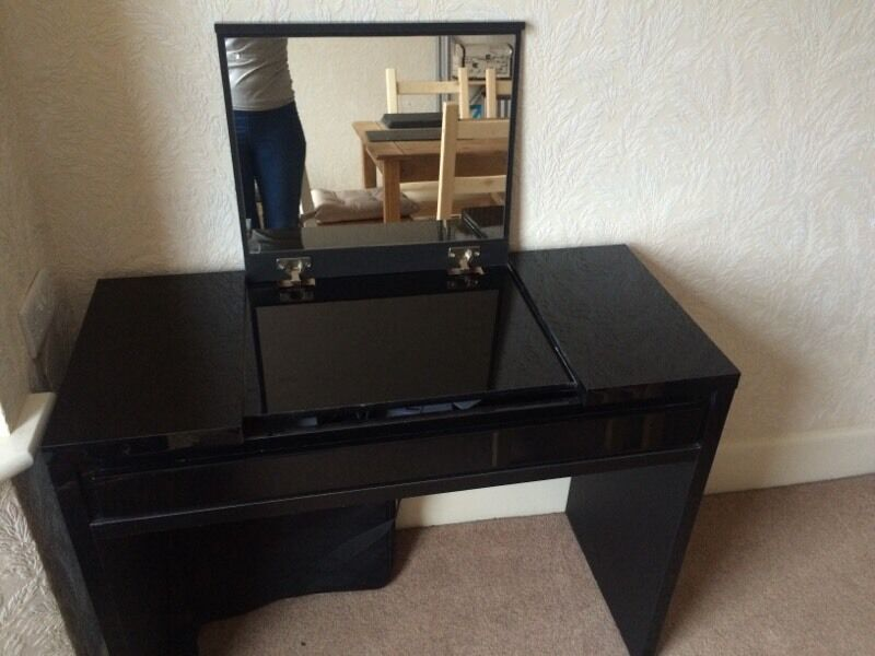 REDUCED Must Go Next Black Gloss Vanity Dressing Table Desk - Black gloss dressing table
