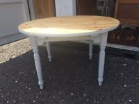 Solid pine round large painted grey kitchen dining table