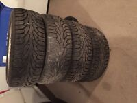 """4 - 16"""" alloy wheels with winter tires"""
