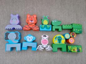 Wooden animals blocks, matching game