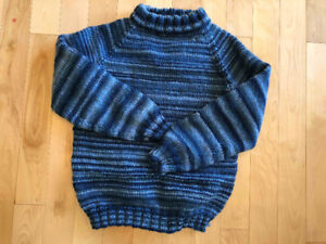 Hand-knit blue acrylic sweater