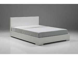 Mobital Blanche Single High Gloss White Platform Bed w/ Mattress