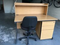 Office desk chair and roller filing cabinet
