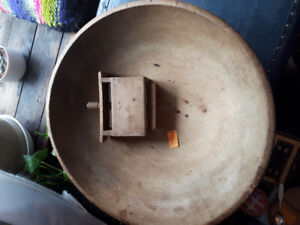 Primitive Wooden Butter Bowl and Butter Press.