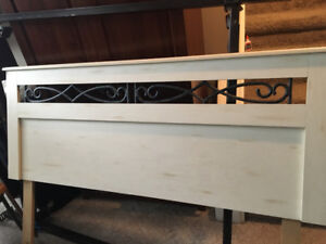 Headboard and metal bed frame