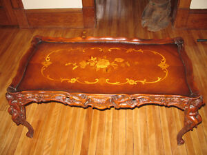 Coffee Table 1940s Vintage with carved cherubs & marquetry