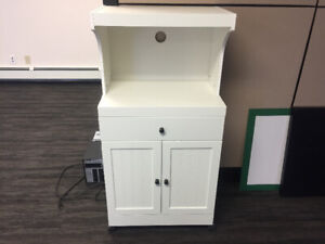 White Microwave stand with drawer and cupboard. Like new!